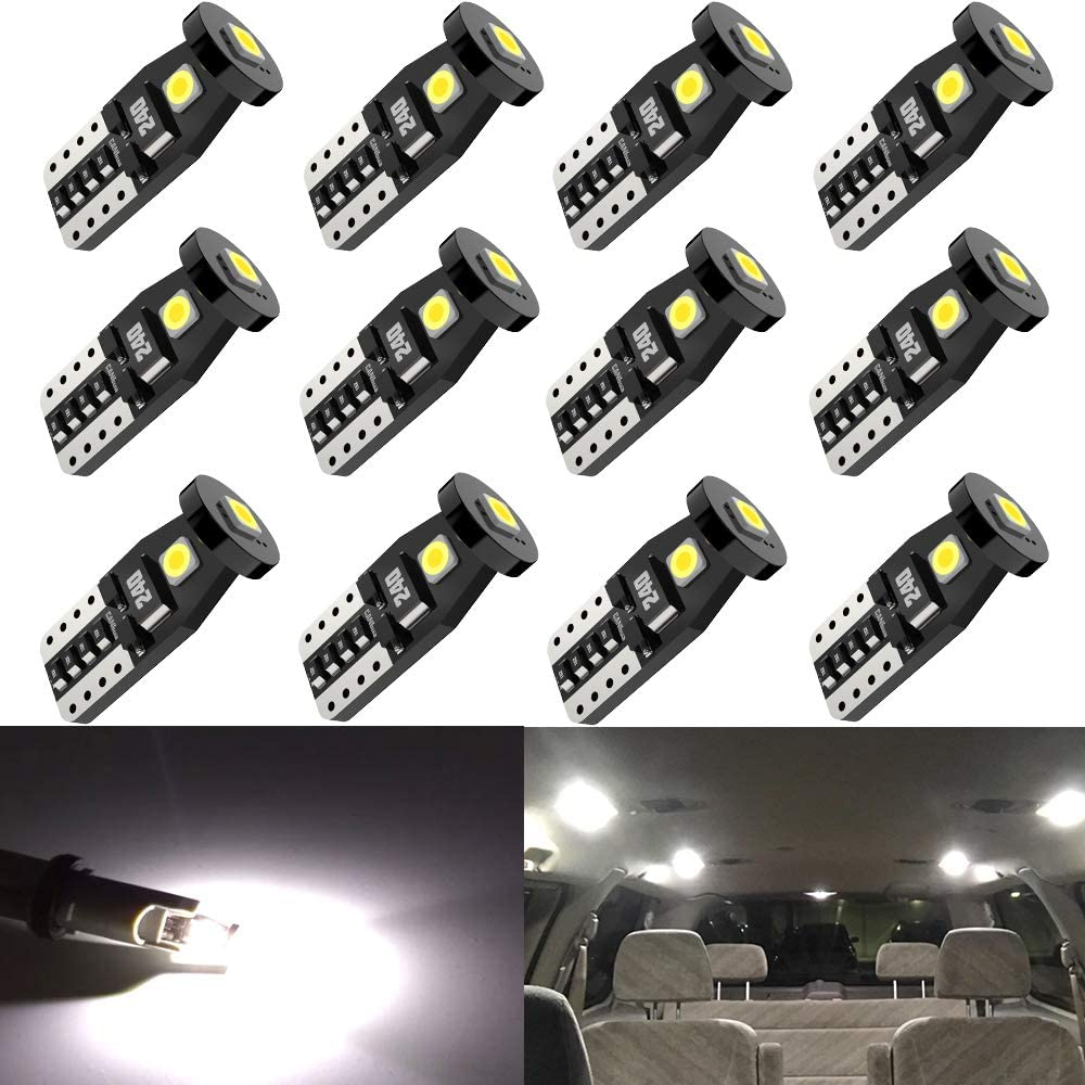 AUXITO 194 LED Light Bulb White 168 2825 W5W T10 921 912 Interior Car Lights with Super Bright 3030-SMD for Dome Map Door Courtesy Trunk License Plate Lights Pack of 10