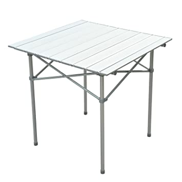 Amazon new roll up portable folding camping square aluminum new roll up portable folding camping square aluminum picnic table wbag 28quotx28quot watchthetrailerfo