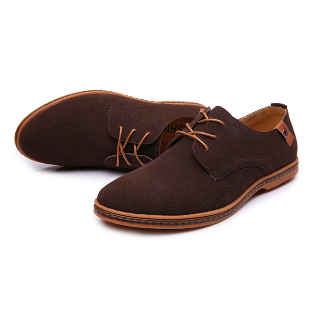 Muyin Mens Casual Loafers Shoes Lace Up Casual Oxfords Microfiber Leather Upper Large Size Color : Coffee, Size : 11.5 D M US