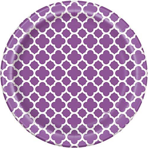Purple Quatrefoil Paper Cake Plates, 8ct - Paper Cake Plates