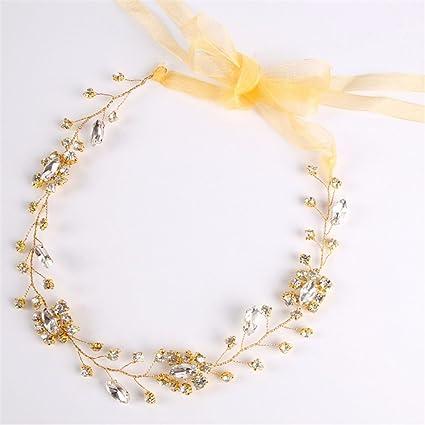 Weddwith Pelo Adornos Nupcial Sombreros Europa Boda Uniforme europeo Cristal de oro Headwear Nudo de la