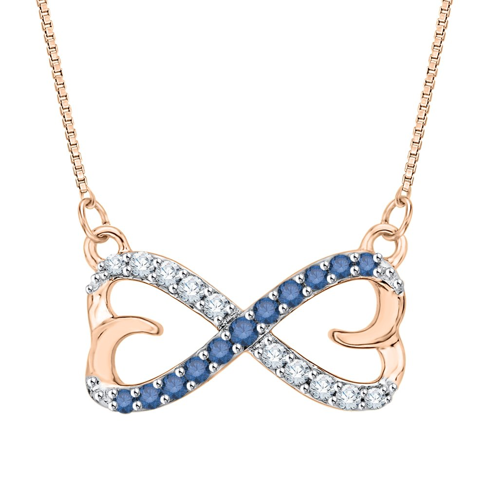 1//5 cttw, J-K, SI2-I1 KATARINA Blue and White Diamond Double Heart Infinity Pendant Necklace in 14K Gold