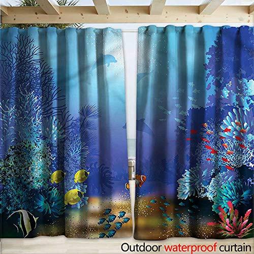 warmfamily Underwater Waterproof Sliding Door Curtains Coral Reef Polyps Algae (Polyp Star Coral)