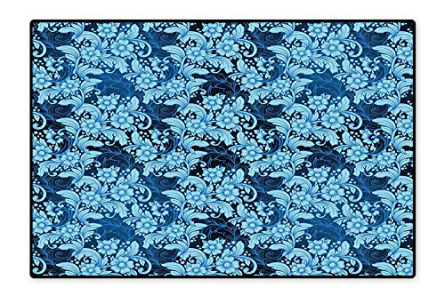 Area Rug Classic Petals Victorian Style Shabby Chic Elegance Florets Vintage Kitsch Design Navy Sky Blue for Living Room, Bedroom, and Dining Room 6