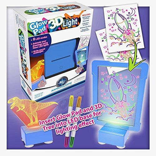 Kids Boogie Board Desk (Mindscope Light Up LED DIY (Do it Yourself) GLOW PAD 3D Light BLUE Glow Markers Activity Kit & Desk Lamp Illusion Set)