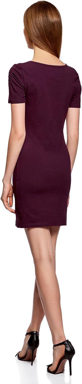 oodji Ultra Damen Enges Kleid mit V-Ausschnitt