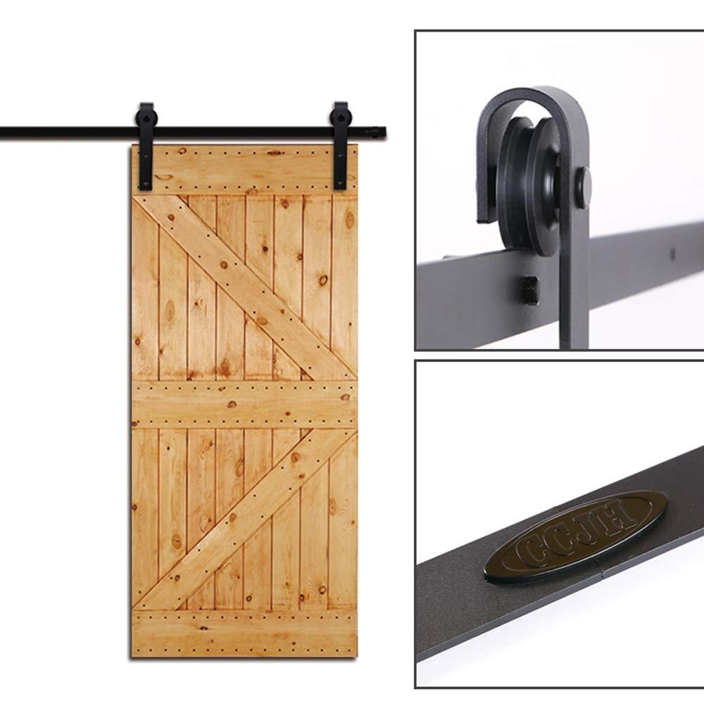 Sliding Barn Wood Door Hardware Track Kit For Single Door J Shape 9.6FT//292cm Schiebe T/ür-Hardware-Track-Kit Einzelt/ür Holzt/ür