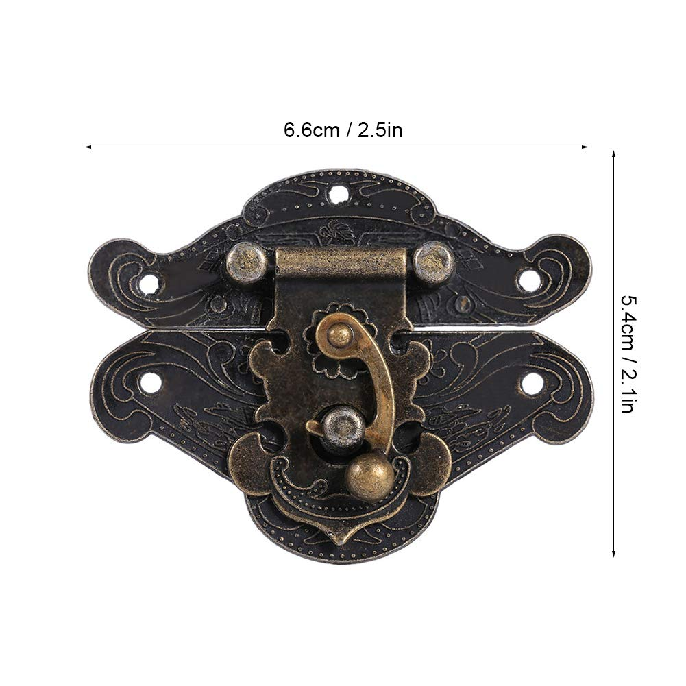 Antique Embossing Latch Hasp Clasp Lock with Screws for Wooden Jewelry Box Cabinet XXS