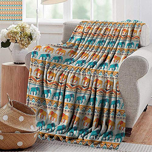 XavieraDoherty Wearable Blanket,Elephant,Horizontal Borders with Exotic Animals Ethnic Geometric Orient Design, Turquoise Orange Cream,Lightweight Microfiber,All Season for Couch or Bed 30