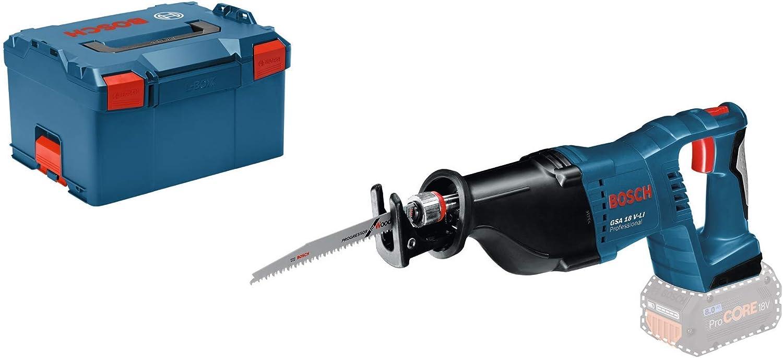 Bosch Professional GSA 18 V-LI Sierra sable, 2.400 2.700 cpm, control de velocidad, sin batería, en L-BOXX, Negro, Azul