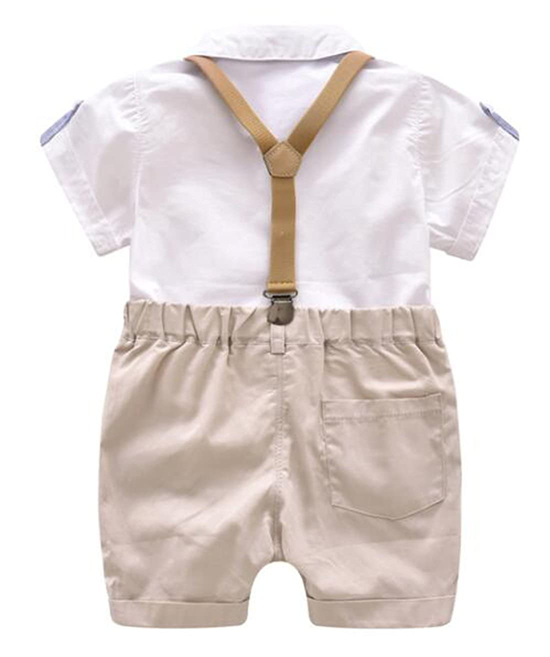 EGELEXY Toddler Baby Boys Gentleman Outfits Short Sleeve T-Shirt+Bib Pants+Bow Tie 3Pcs
