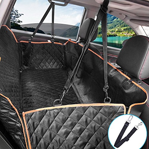 Lantoo Dog Seat Cover, 600D Waterproof Dog Car Seat Covers for Back Seat Pet Seat Cover Hammock, Heavy Duty Scratch-Proof Nonslip Dog Back Seat Cover for Cars Trucks SUVs