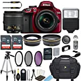 Nikon D3400 24.2 MP DSLR Camera (Red) with AF-P DX NIKKOR 18-55mm f/3.5-5.6G VR Lens Bundle includes 64GB Memory + Filters + Deluxe Bag + Professional Accessories (25 Items)