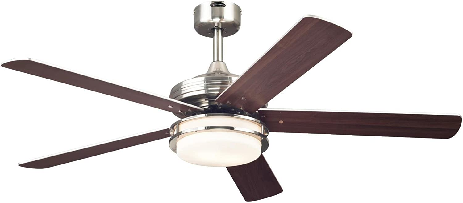 Westinghouse Lighting 7209100 Castle 52-inch Brushed Nickel Indoor Ceiling Fan, LED Light Kit with Opal Frosted Glass