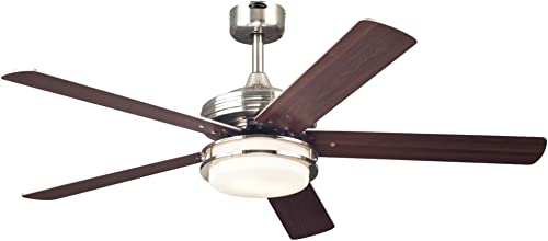 Westinghouse Lighting 7209100 Castle 52-inch Brushed Nickel Indoor Ceiling Fan