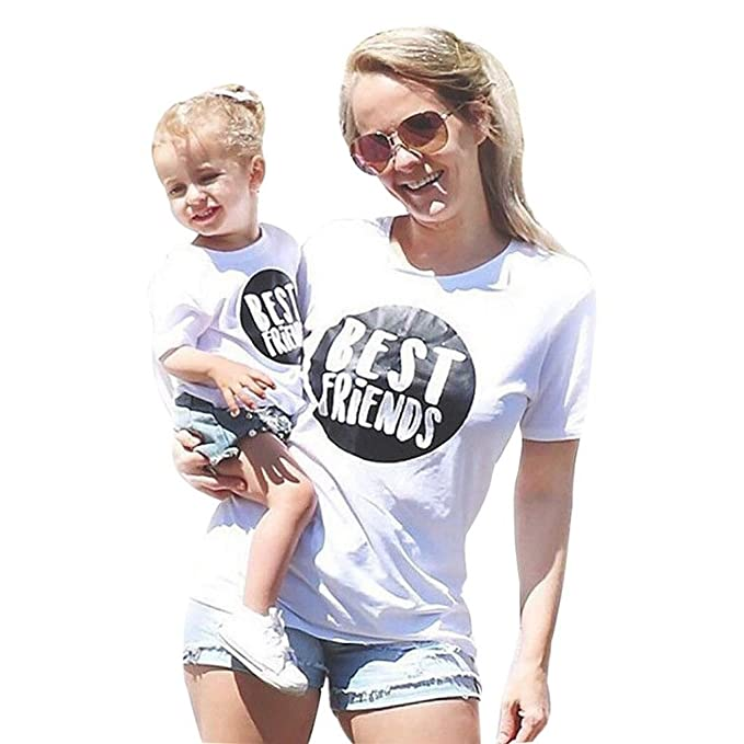 64b75a00cca Amazon.com  Appoi Mommy and Me Baby Kids Girl Letter T Shirt Tops Family  Clothes Outfits Matching Shirts for Mom Daughter Summer Shirt  Clothing