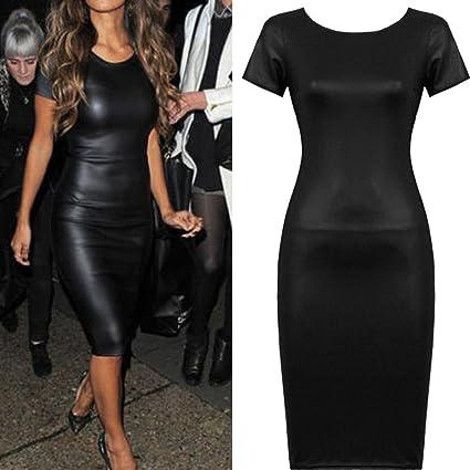 c0c7b8ea49e3a Amazon.com: Hemlock Women Bodycon Midi Dress, Ladies Faux Leather Dress O  Neck Party Dress Skinny Dress (XXL, Black): Computers & Accessories