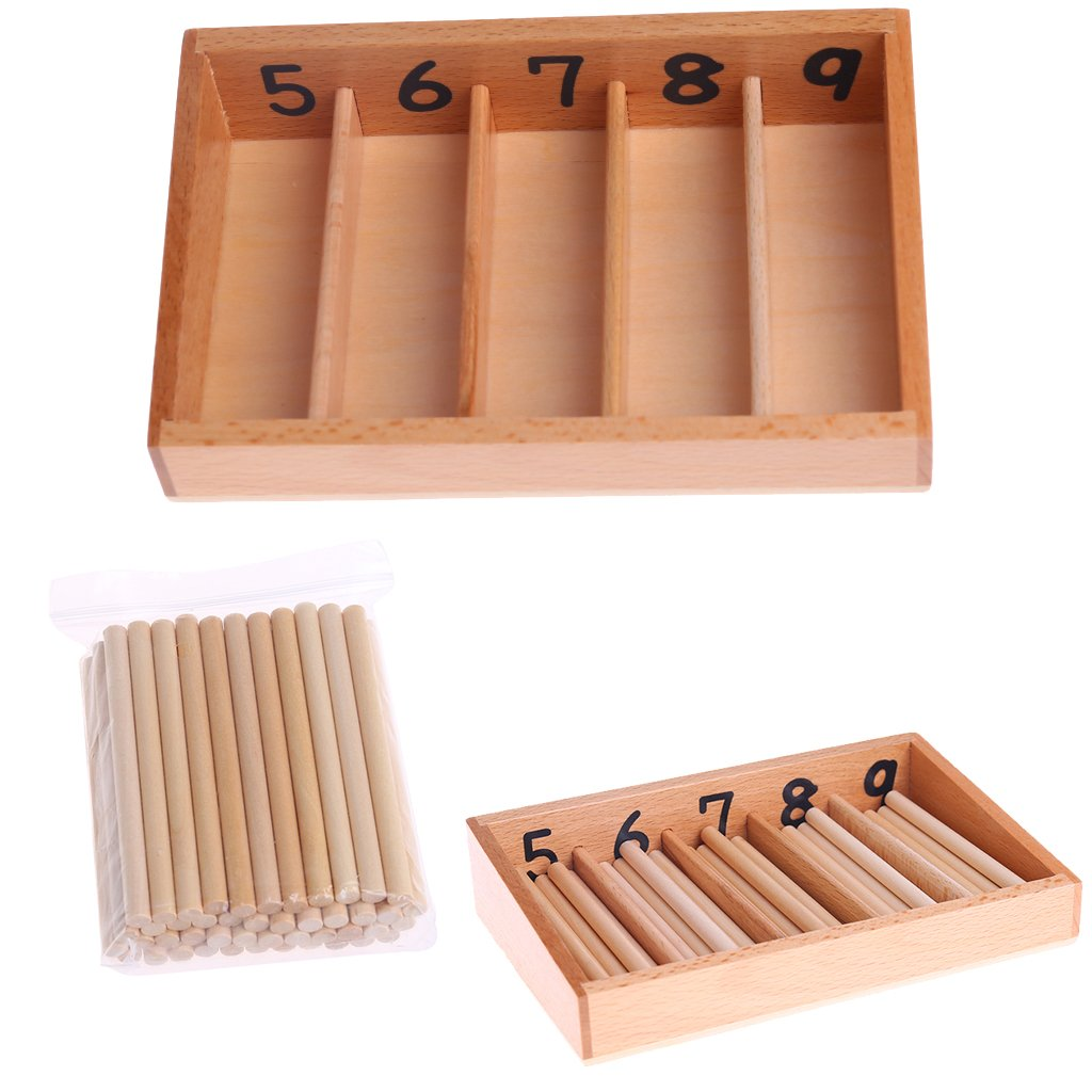 Guoyy Montessori Wooden Spindle Box 45 Spindles Mathematics Counting Jouet /é ducatif