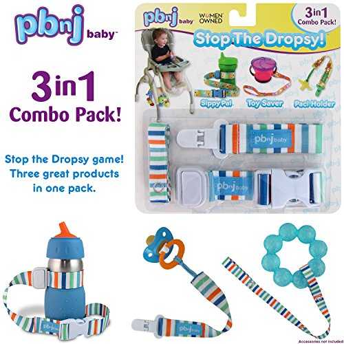 Stop the Dropsy 3-in-1 Pack for sippy cup, pacifier, toys (Beach)