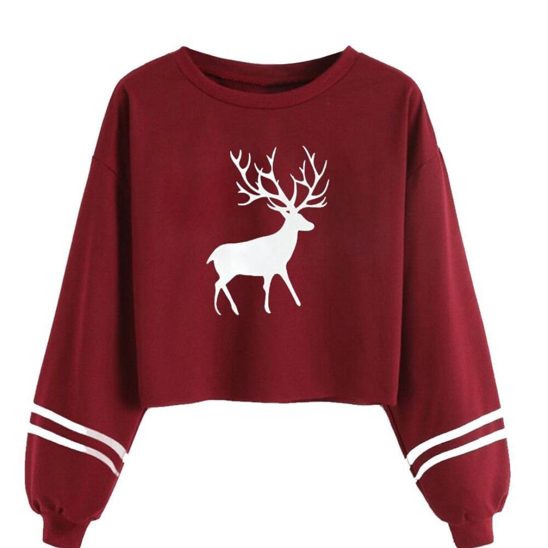 Oberteile Damen Herbst Winter Fashion Niedlich Mädchen Deer Sweatshirt Lose Crop Tops Freizeit Bauchfrei Bluse Langarm O Neck Pulli