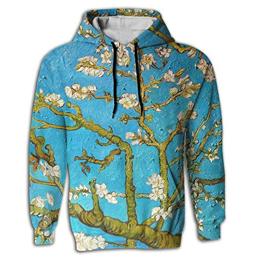 Men's Pullover Hooded Sweatshirt Almond Tree Hoodies Cozy Drawstring Kangaroo Pockets Prime Exclusive