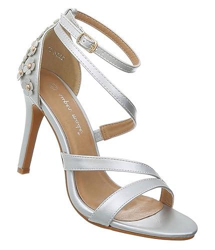 3212cc92f2834c Damen Schuhe Sandaletten High Heels Pumps Stilettoabsatz Designer Mules  Trend Pumps schicke Abendschuhe Silber 38