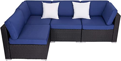 Kinsunny 4 Pieces Outdoor Garden All Weather PE Rattan Wicker Patio Furniture Conversation Sectional Sofa Set Chairs
