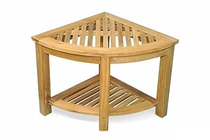 Amazoncom Natural Teak Outdoor Patio Triangular Wooden End - Teak outdoor end table