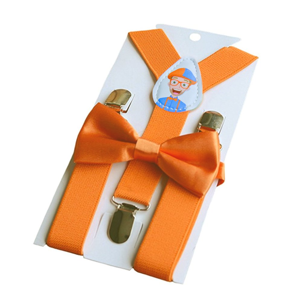 Blippi Official Blippi Kids Orange Suspenders and Bow Tie for Children Adjustable and Clip on