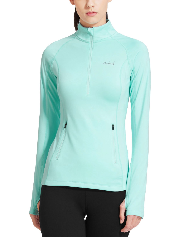 Baleaf Women's Thermal Fleece Half Zip Thumbholes Long Sleeve Running Top Aqua Size XS