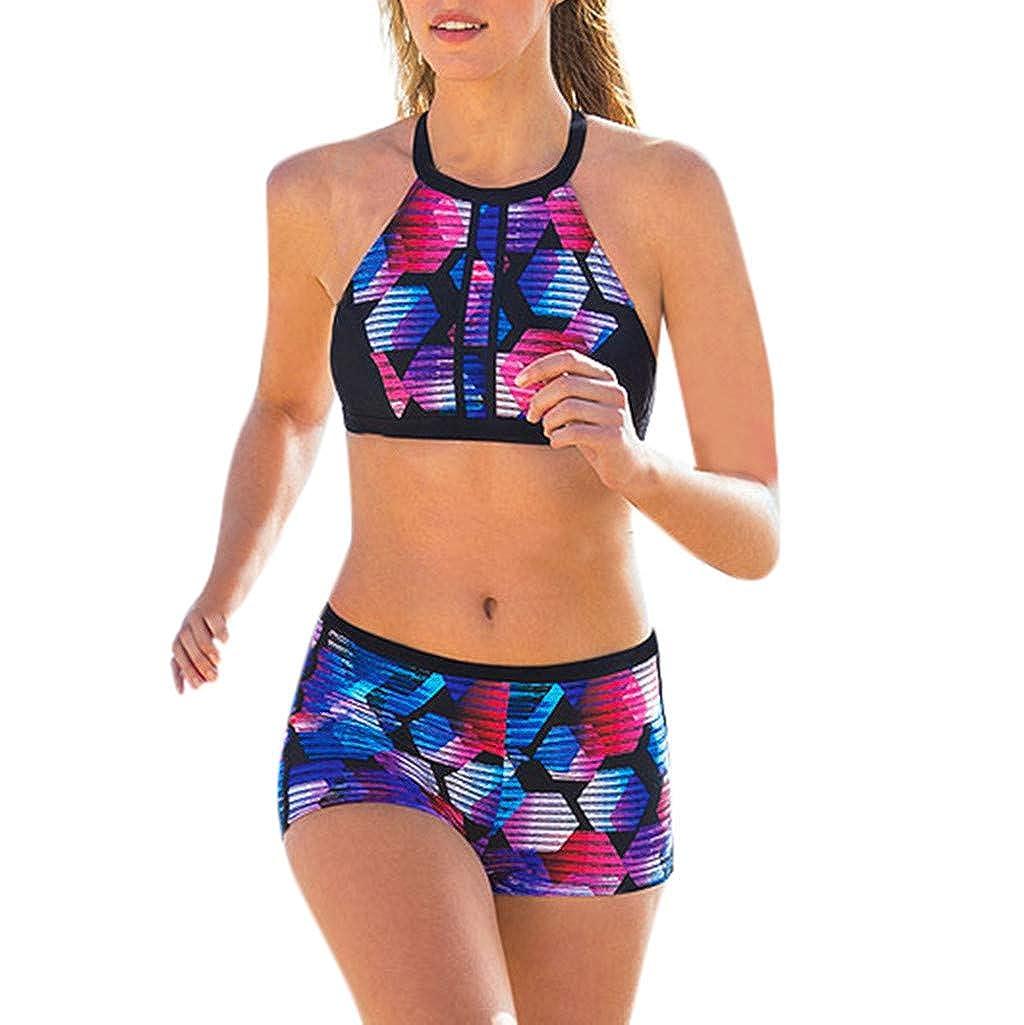 KariNao Damen Bademode Neckholder 2pcs Badeanzug mit Boyshort Bikini Set Sportlich Badeanzug Suit