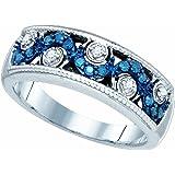 1/4 Carat (ctw) 10K White Gold Round Cut Blue & White Diamond Ladies Fashio Right Hand Band 1/4 CT