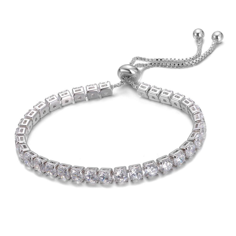 KIVN Fashion Jewelry CZ Cubic Zirconia 4.0mm Adjustable Bolo Tennis Wedding Bridal Bracelets for Women KIVN Jewelry 31OLA1432-4.0mm