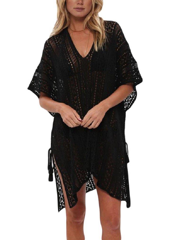 LeaLac Women's Summer Cotton Bathing Suit Cover up Beach Bikini Swimsuit Swimwear Crochet Dress Gift for Women LXF13 Black