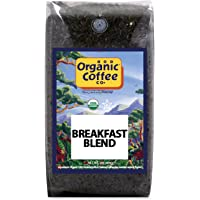 The Organic Coffee Co. Breakfast Blend Whole Bean Coffee 2LB (32 Ounce) Medium Light Roast USDA Organic