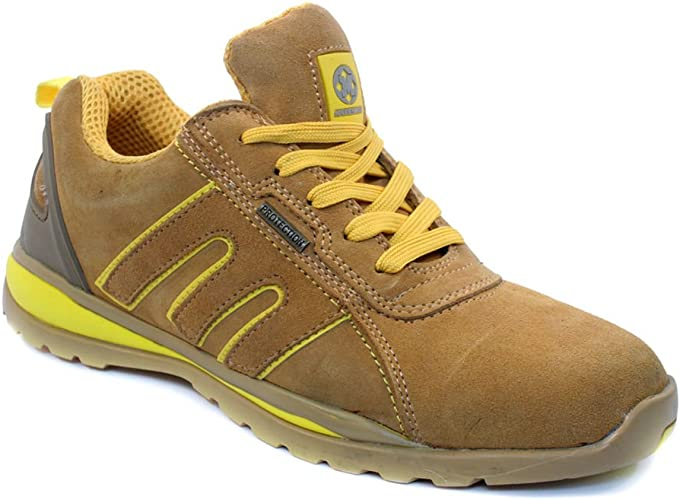 BARGAINS-GALORE Mens Safety Trainers Shoes Boots Work Steel Toe Cap Hiker Ankle Honey