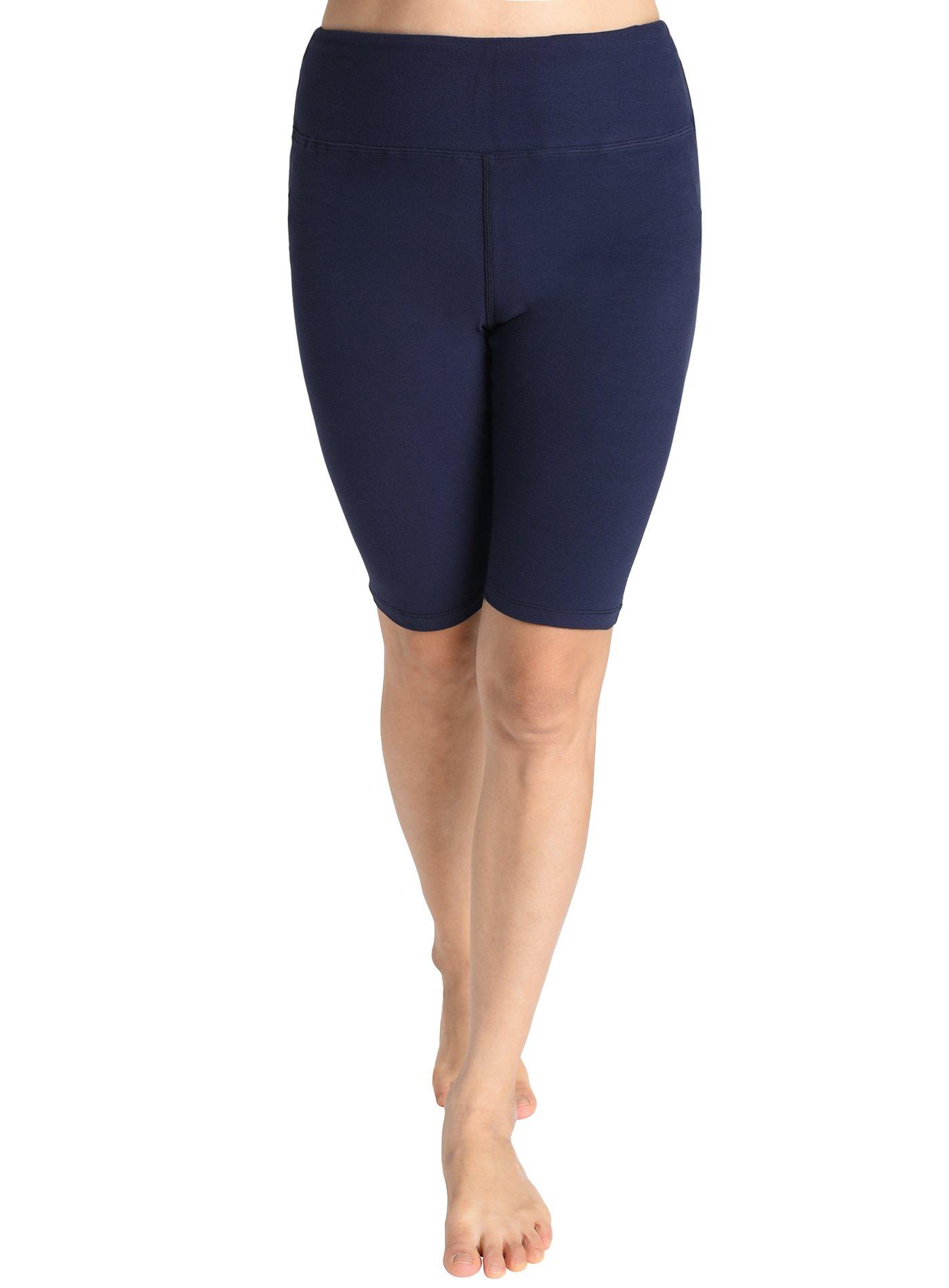 bac5c9f3da Galleon - Weintee Women's Cotton Spandex Yoga Shorts Workout Gym Shorts XL  Navy