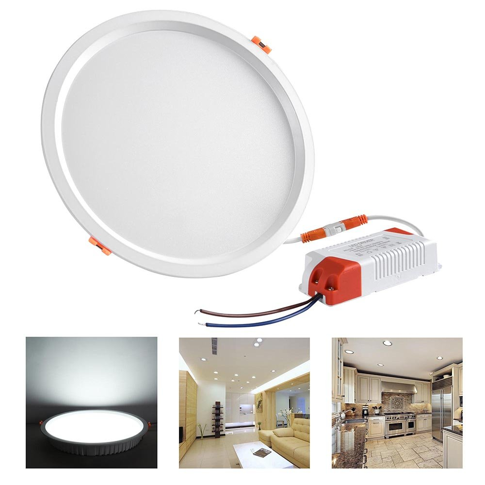 Yescom 8'' 30W Round LED Down Light, 6000K Cool White, 2800LM, Home Office Retrofit LED Recessed Lighting Fixture by Yescom (Image #3)