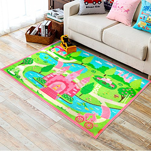 Huahoo pink girls bedroom rugs cartoon castle kids rug for Kids room carpet