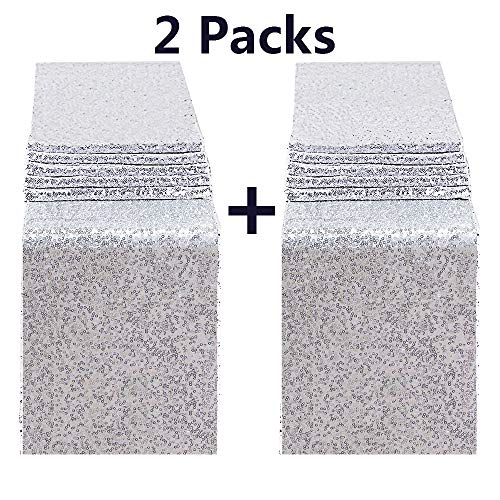 FECEDY 2pcs 12 x 108inch Glitter Silver Sequin Table Runner for Birthday Wedding Engagement Bridal Shower Baby Shower Bachelorette Holiday Celebration Party Decorations ()