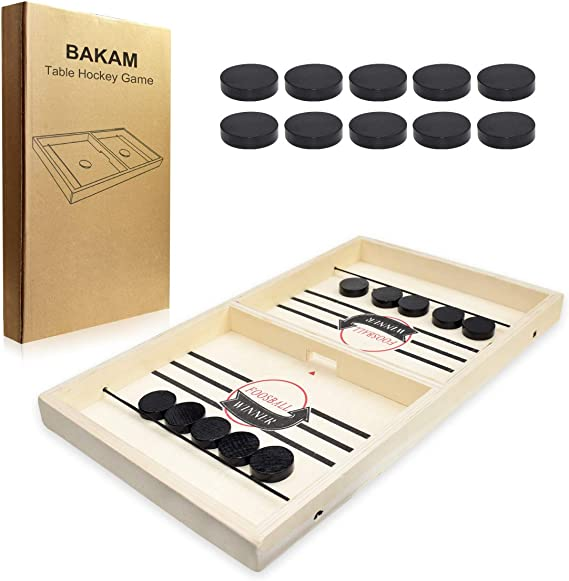 BAKAM Head-to-Head Wooden Desktop Hockey Table Game for Kids and Adults