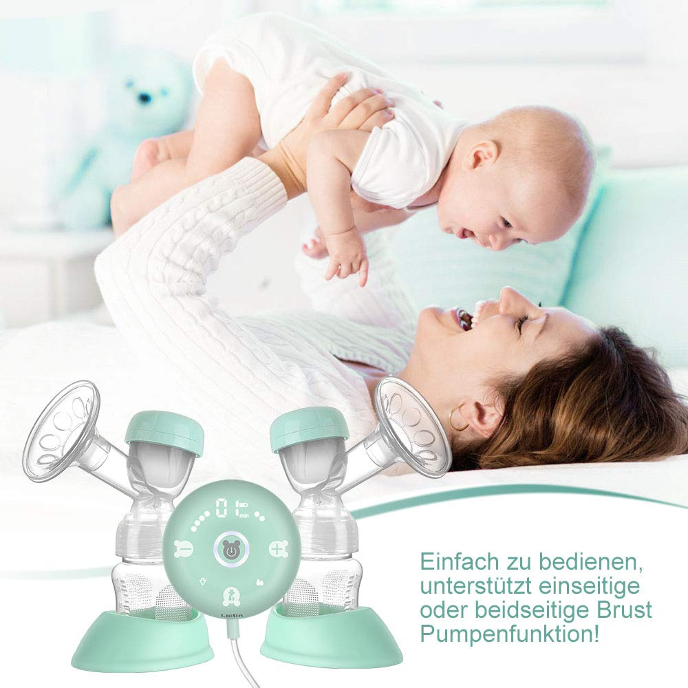 Lictin Elektrische Milchpumpe Smart Silikon Wiederaufladbare Brustpumpe Doppel Muttermilch Abpumpen mit Massagemodi Muttermilchf/änger 2 Modi 10 Stufen Einstellung 10 Muttermilch Aufbewahrungsbeuteln