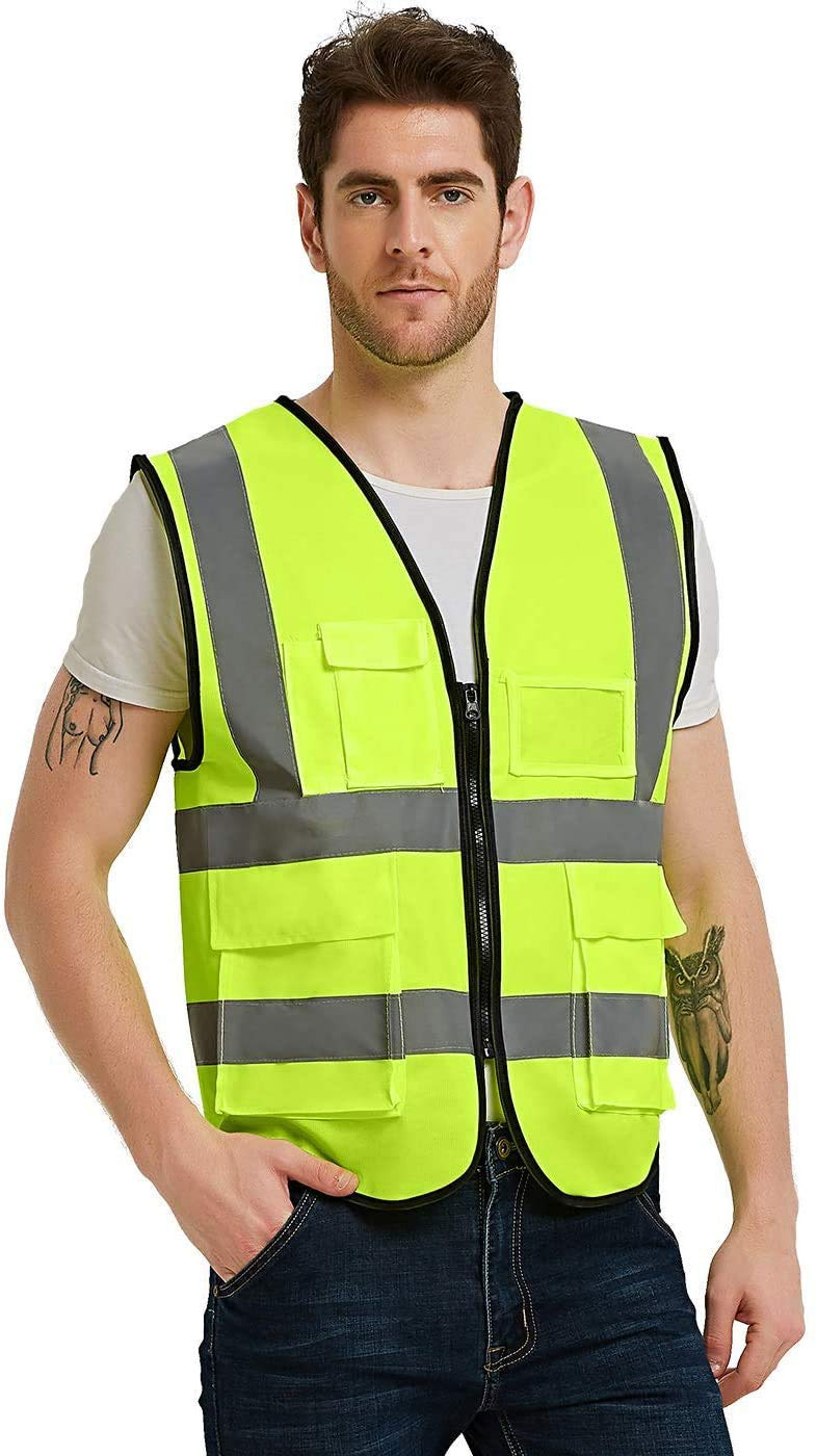 Reflective Safety Vest High/Visibility/Reflective/Vests/with/Reflective/Strips/and/Transparent/ID/Pockets,/XXL