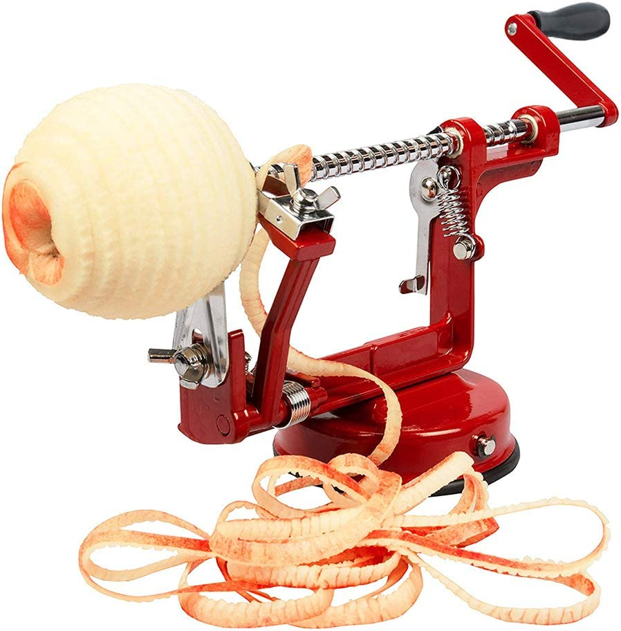 Aiky Apple Peeler Slicer and Corer Suction Base for Pear Potatoes Apple Pie Cobbler Maker Red Cast Iron Body Kitchen Gadget