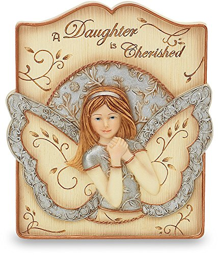 Beauty Angel Plaque (Elements Daughter Plaque by Pavilion, 4 by 3-1/2-Inch, Inscription a Daughter is Cherished, Includes Easel and)