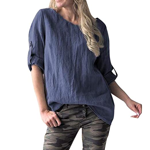 8e3b58a5567 Women s Casual Solid Shirts Plus Size Retro Loose O-Neck Middle Sleeve T- Shirts Top Blouse Summer Spring Tees S-5XL at Amazon Women s Clothing store