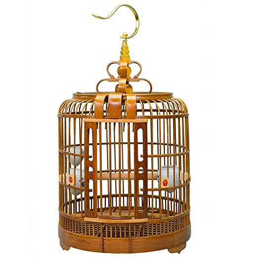 Jaula de pájaros pequeños Bambú Color de madera Jaula de vuelo con ...