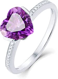 Aokarry Women 18K White Gold Anniversary Promise Ring, 1.68ct Heart Amethyst Eternity Diamond Rings for Womens Purple Size 7