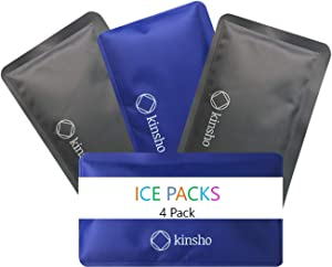 Ice Packs for Lunch Box Bag and Bento Boxes, 4 Pack Set, Reusable and Refreezable Soft Slim Pouches for Kids Boys Adults, Travel, School, Work, Camping, Long Lasting Cold, Flexible | Blue Grey