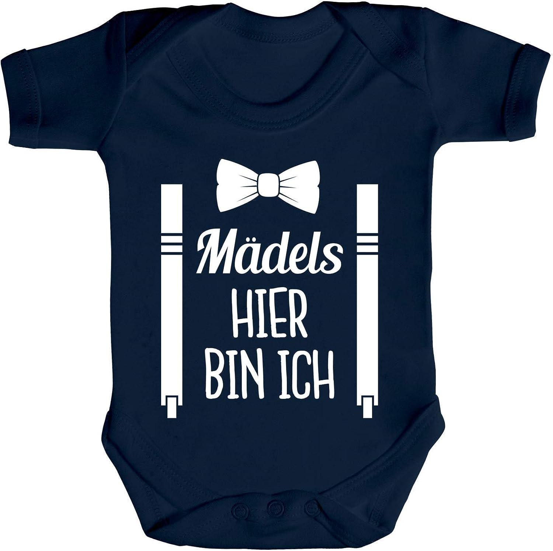 Lustiges Geschenk zur Geburt Strampler Bio Baumwoll Baby Body kurzarm Jungen M/ädchen M/ädels hier bin ich